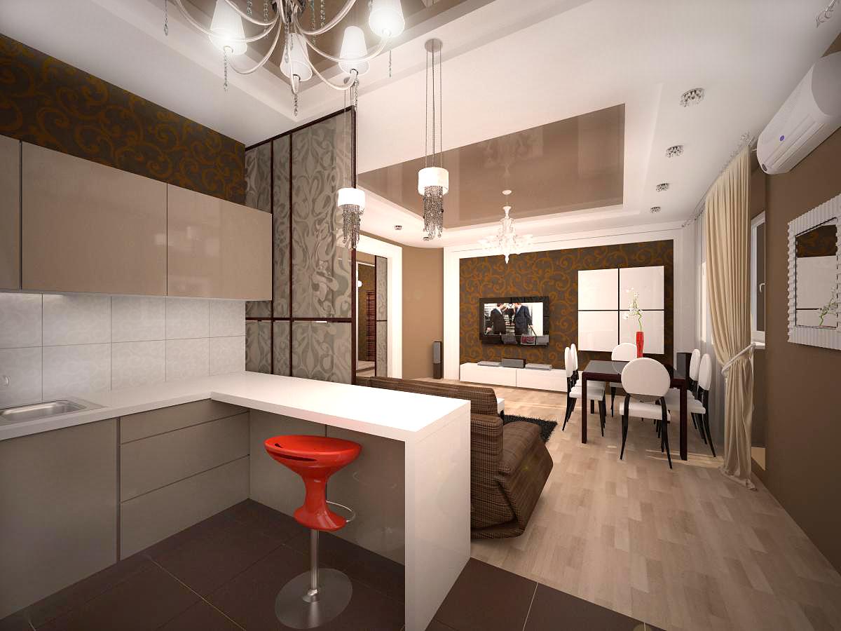 Интерьер кухни в квартире-студии