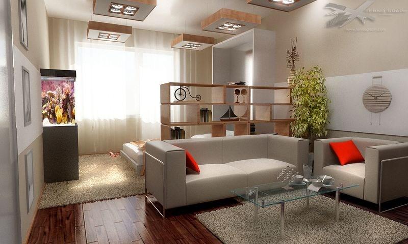 Дизайн проект спальни гостиной 18 кв.м