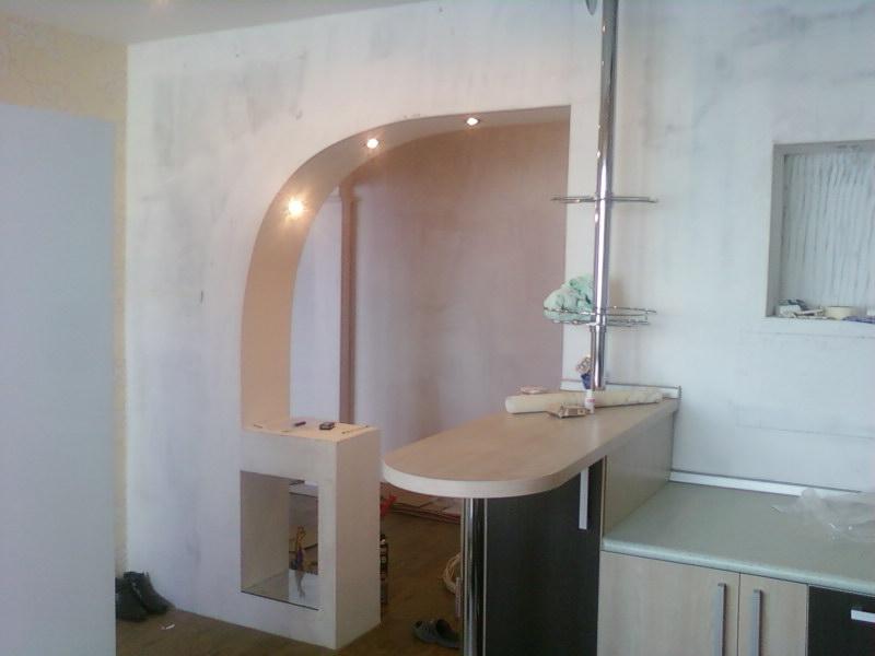 Арки из гипсокартона фото кухня