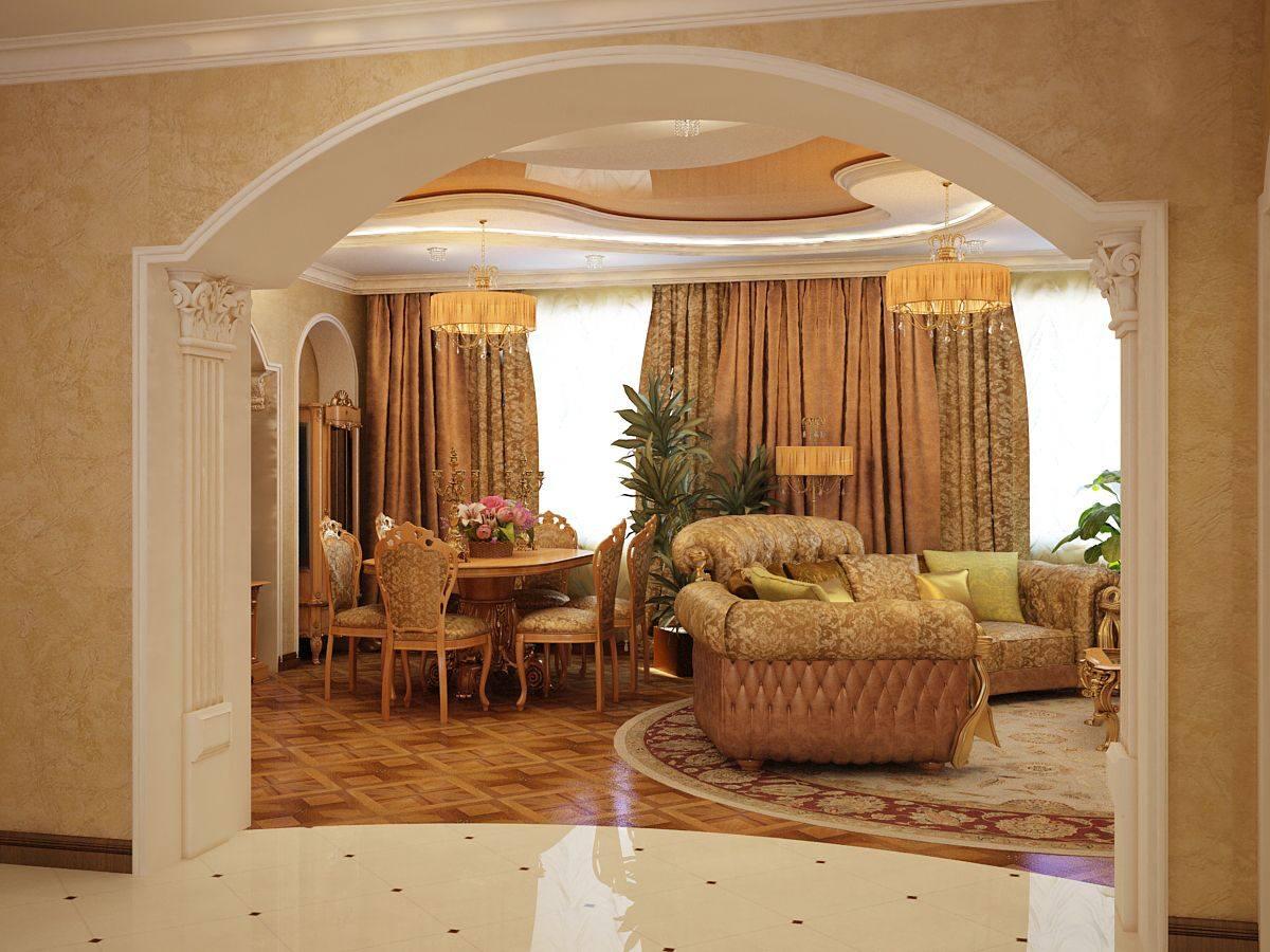 Арки из гипсокартона фото дизайн интерьера гостиной
