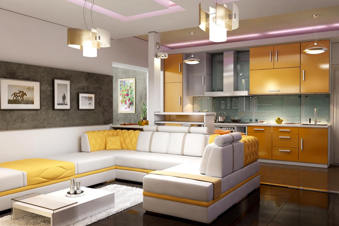 Дизайн гостиной комнаты совмещенной с кухней