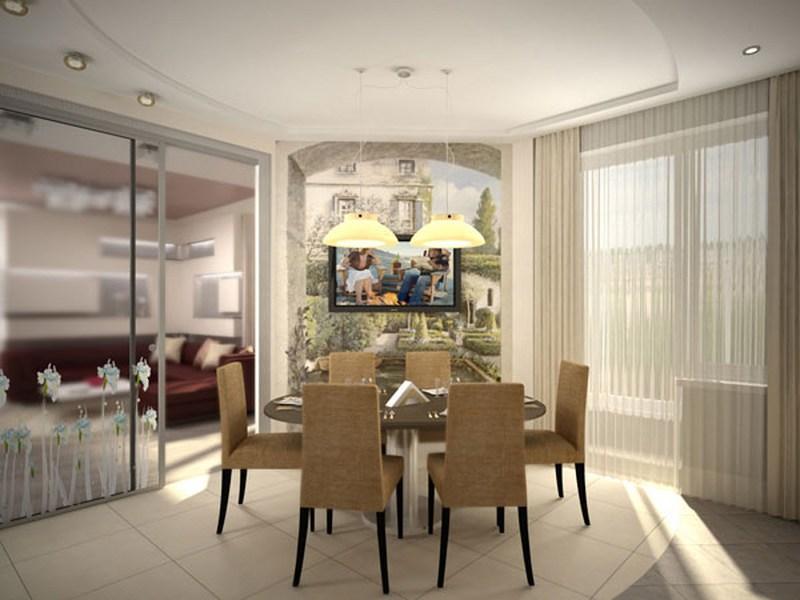 Дизайн гостиной совмещенной с кухней с раздвижными дверями